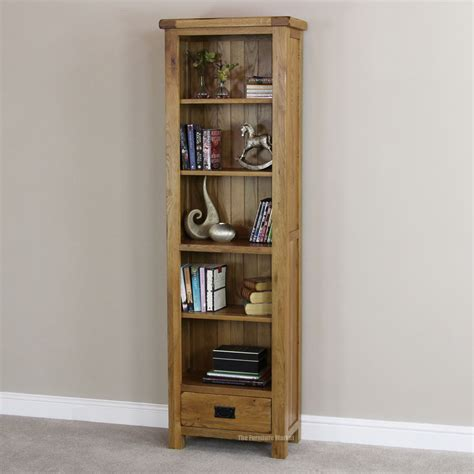narrow bookcase oak rustic oak 1 drawer narrow bookcase
