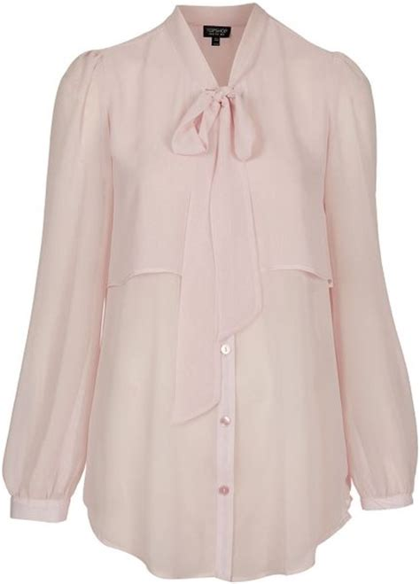 Caik Blouse Cape Abella Pink topshop cape pussybow blouse in pink light pink lyst