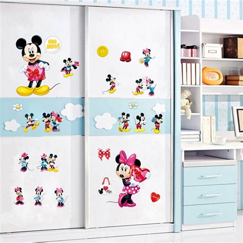 mickey mouse and minnie mouse wall sticker home decor minnie mickey mouse mouse wall art decals kids gift home