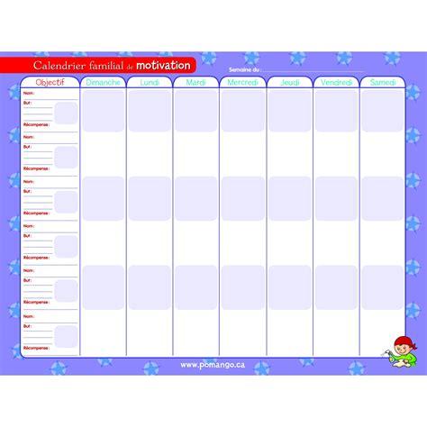 Calendrier Familial Calendrier De Motivation Et De Responsabilit 201 S