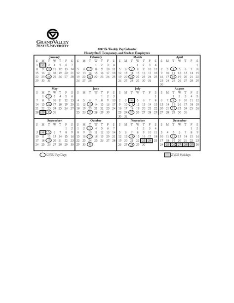 Pay Calendar Pay And Calendars Payroll Office Grand Valley