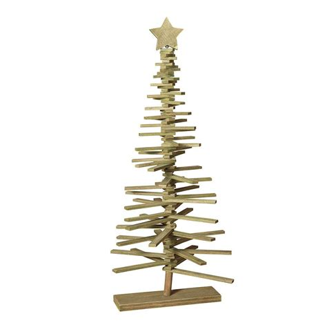 37 in wood slat tree with star 2225380 the home depot