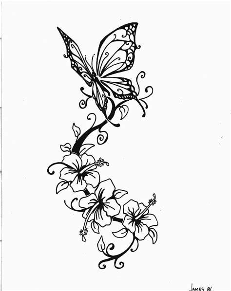 butterfly tattoo with vines and flowers butterfly flying near tropical styled flowers on a vine