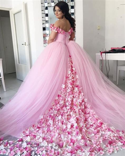 pink tulle floral flower gowns quinceanera dresses shoulder alinanova