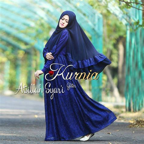 Gamis Pesta Biru Dongker atsillah biru dongker baju muslim gamis modern