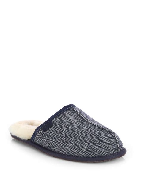 blue ugg slippers ugg scuff herringbone slippers in blue for blue