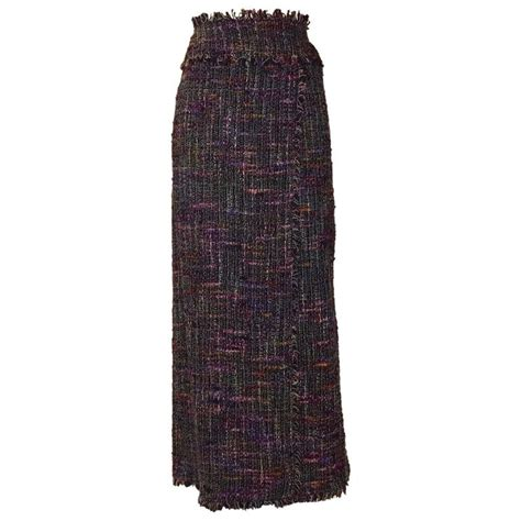 New Chanel Maxi 28x17x9cm Semiori new 1998 chanel boutique black multi tweed maxi skirt wrap style at 1stdibs