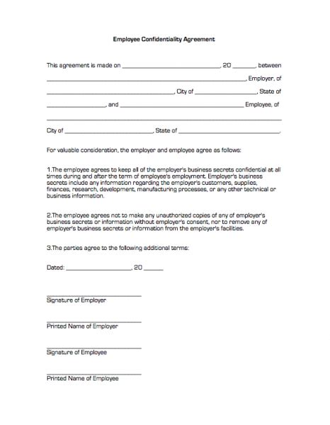 employment confidentiality agreement template employee confidentiality agreement business forms