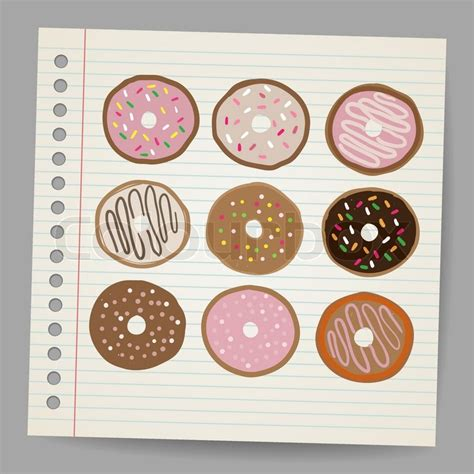 doodlebug donuts doodle stil donut im vektor format vektorgrafik colourbox