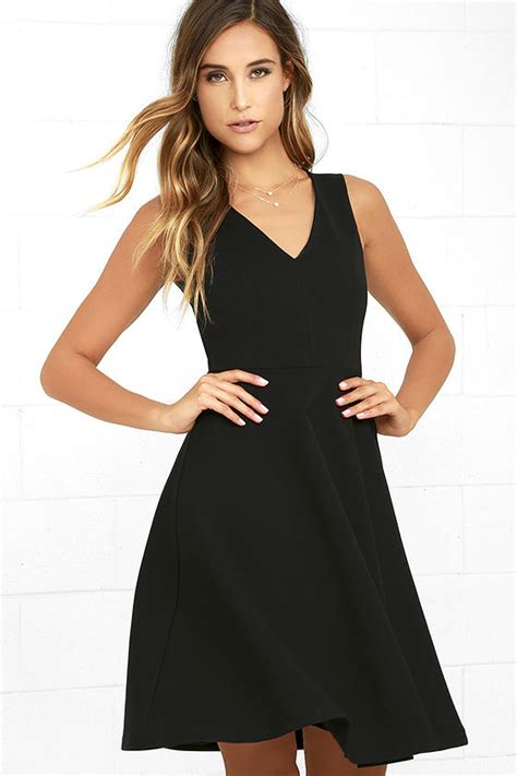 Midi Dress 253 black dress midi dress skater dress sleeveless dress