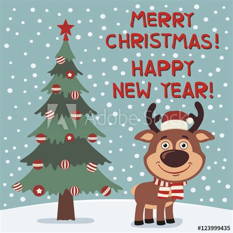 merry christmas  happy  year funny reindeer  christmas tree card  cartoon style