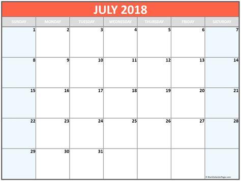 printable calendar 2018 in color july 2018 free printable blank calendar collection