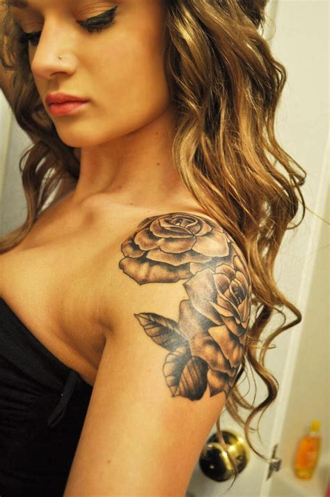 roses on shoulder tattoos my shoulder sleeve cap tattoos