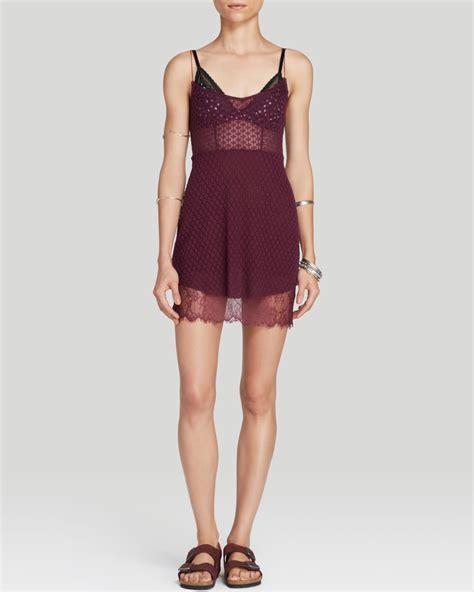 Coach Mini Beneth Purple free slip dress mini lace in lyst