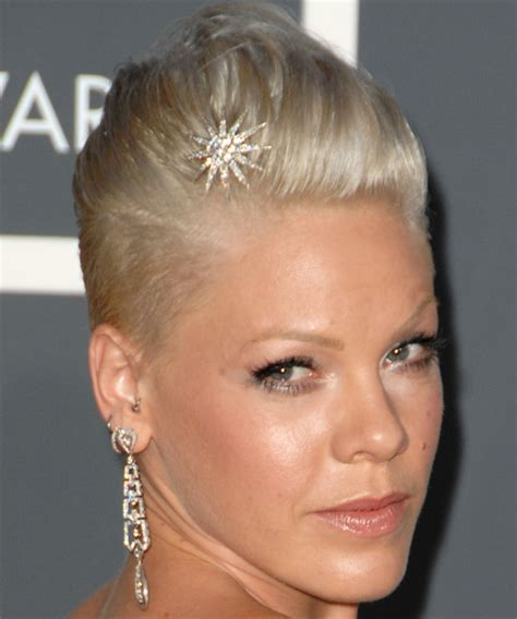 shaved side prom hairstyles pink short straight alternative hairstyle
