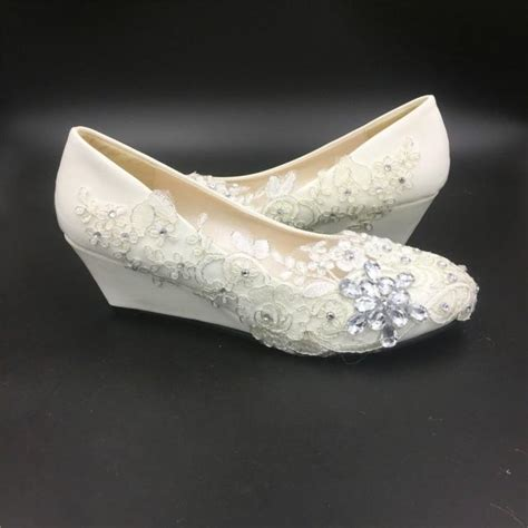 White Wedge Wedding Shoes by Ivory White Wedding Wedges Bridal Wedges Shoes
