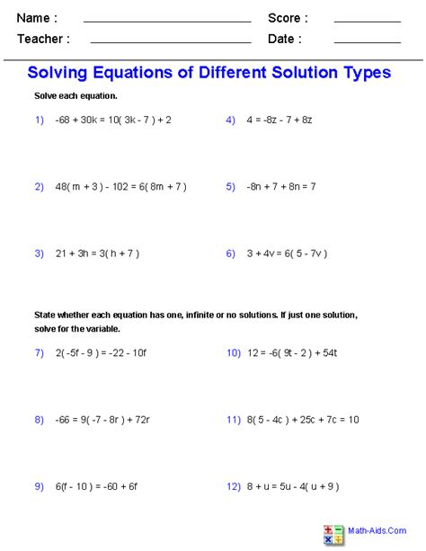 Simplifying Equations Worksheets by Algebra 1 Worksheets Equations Worksheets