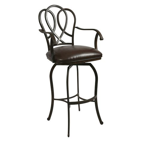 bar stools swivel with back furniture black wrought iron swivel bar stools with arms and round back also black leather seat