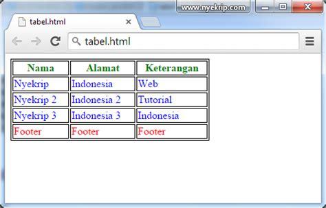 skrip membuat tabel pada html cara membuat tabel html 5 dengan css nyekrip