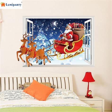 aliexpress com buy wholesale christmas wall stickers lumiparty removable santa claus reindeer 3d window vinyl