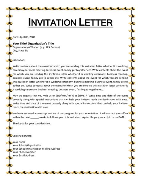 Business Event Invitation Letter Loan Form Sle Of Bill Doc600670 How To Write A 12751650 For Forms Invitation Templates