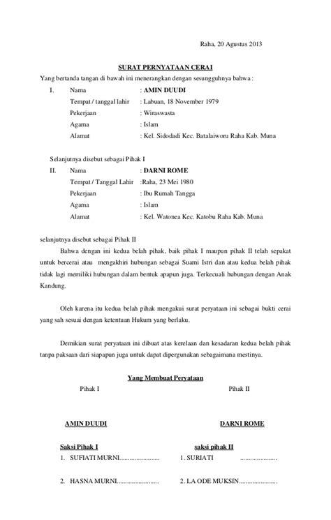 format surat gugatan cerai pengadilan negeri surat cerai