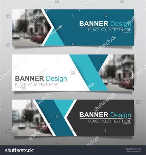 horizontal layout web design collection blue horizontal business banner set stock
