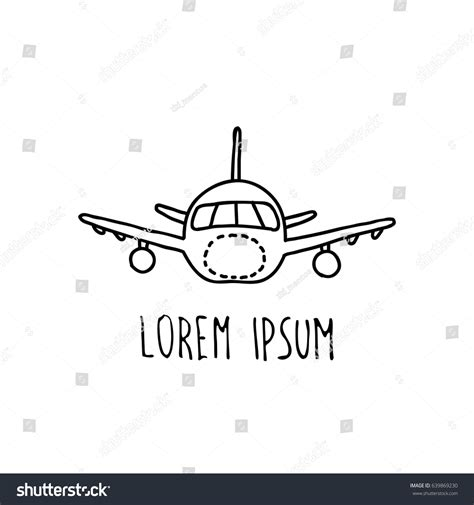 doodle plane airplane doodle icon stock vector 639869230