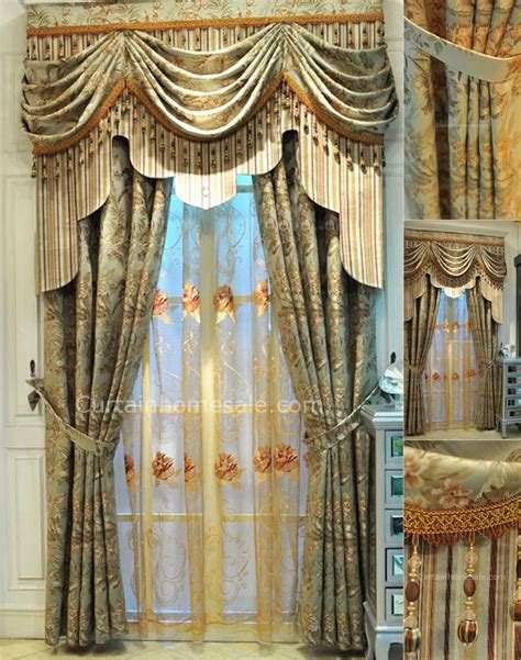 drapes style vintage lace curtains in combined green color for fancy