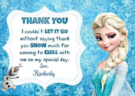 Frozen Thank You Card Template by Disney Thank You Cards And Disney Frozen On
