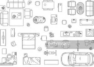floor plan furniture clipart vector image set of furniture appliances and car vector