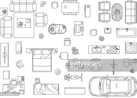 floor plan symbols illustrator vector image set of furniture appliances and car vector