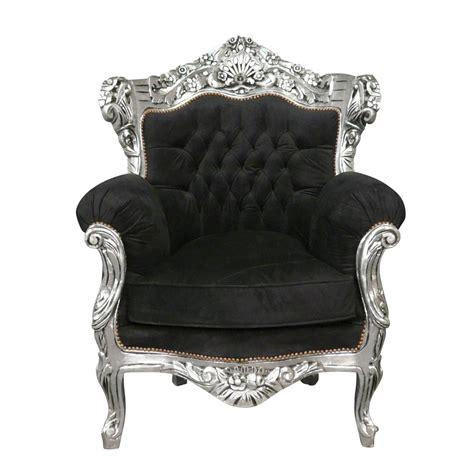 fauteuil baroque noir en velours et argent meubles baroques