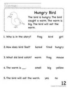 Readers comprehension packet for early education or special education