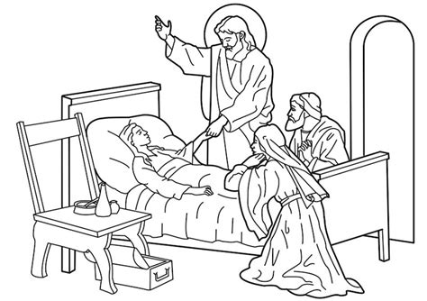 coloring page jesus heals jairus daughter jesus raising jairus s daughter from the dead bible