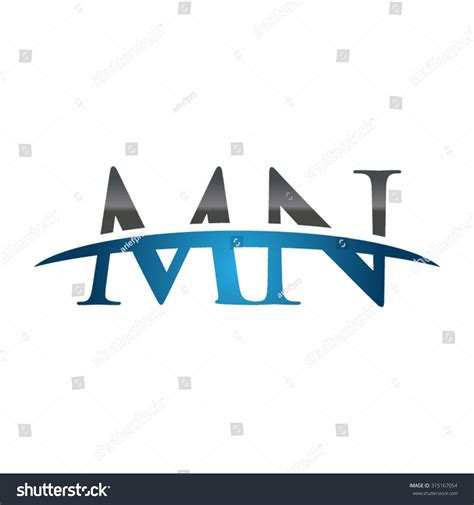 Mn Simple Search Mn Initial Company Blue Swoosh Logo Stock Vector Illustration 315167054