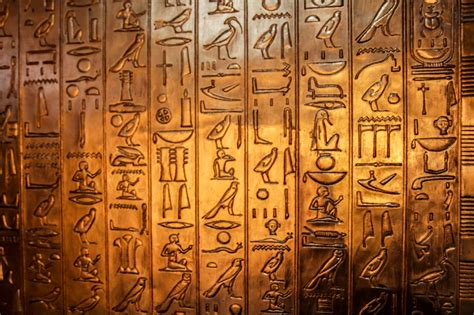 Egyptian Wall Mural free photo hieroglyphics characters golden free image