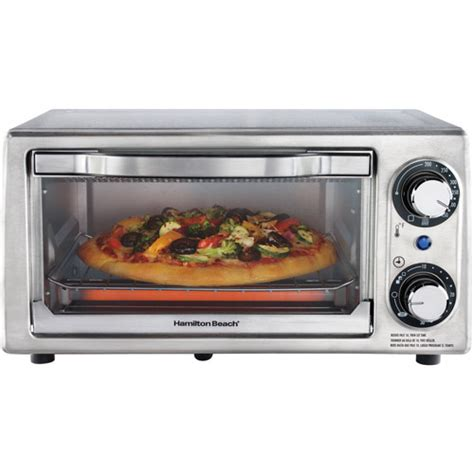 Countertop Oven Walmart by Hamilton 4 Slice Toaster Oven Stainless Steel