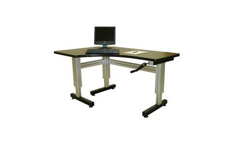 hand crank adjustable height desk offset corner hand crank adjustable height desks ergosource