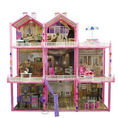 dolls house setting this looks like a great diy craft project huge 210pc doll house set 3 story 8 rooms fits barbie