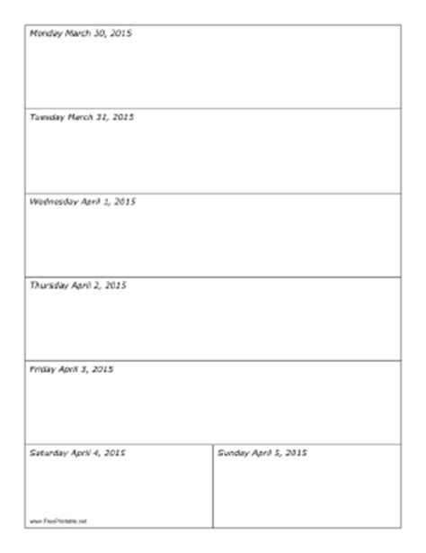 weekly calendar template 2015 printable 03 30 2015 weekly calendar vertical