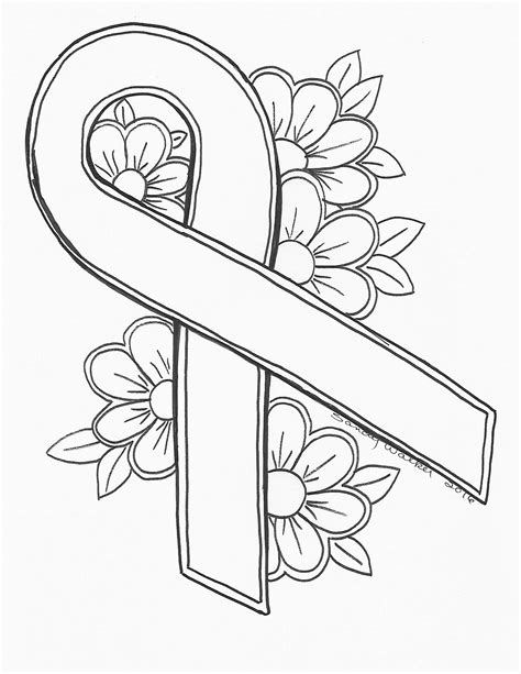 coloring page of breast cancer ribbon an original by sandra walker 2016 ribbon for cancer