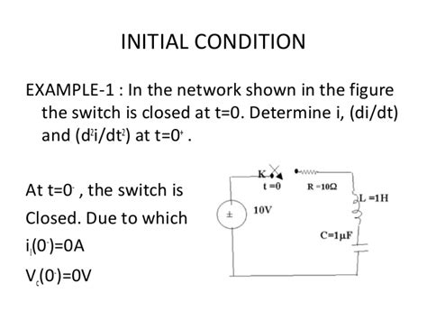 capacitor voltage at t 0 initial conditions of resistor inductor capacitor