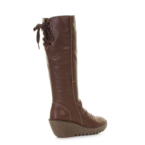 womens fly yust brown leather wedge knee high