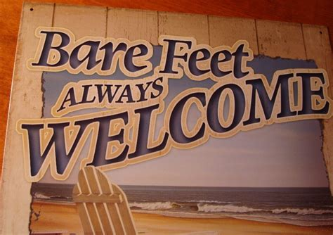 funny home decor signs bare feet welcome tropical island tiki beach bar seaside