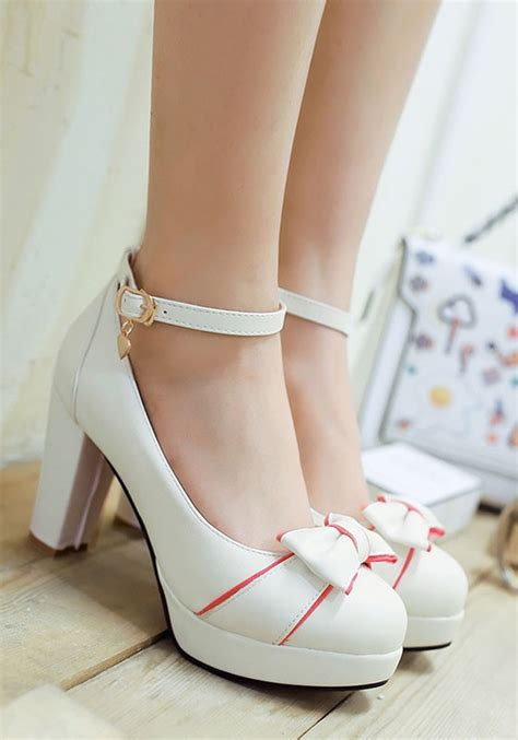 Cutie Bootie Shoes White white toe chunky bow high heeled shoes pumps