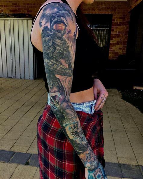 xbox tattoo ideas my halo sleeve i the arbiter on the inside of my