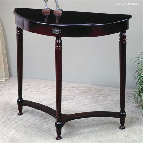 espresso wood accent entryway display console table with half moon accent tables entryway wood display rack sofa