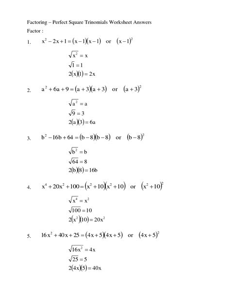 Factoring Trinomials Worksheet Answers