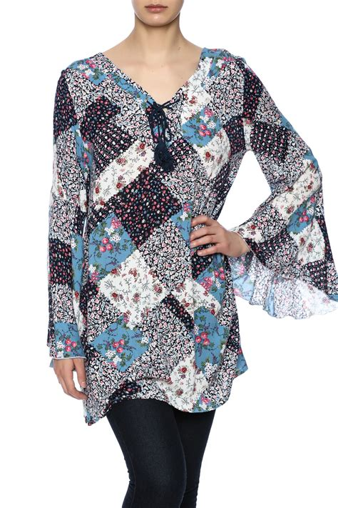 Patchwork Tunic - velzera blue patchwork tunic from oklahoma by one faith